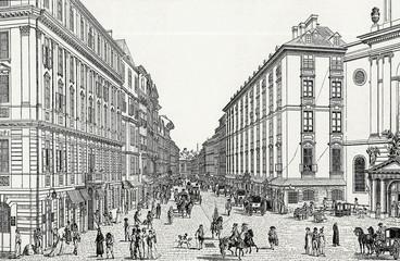 Wien, Kohlmarkt im 18. Jh., Kupferstichvorlage