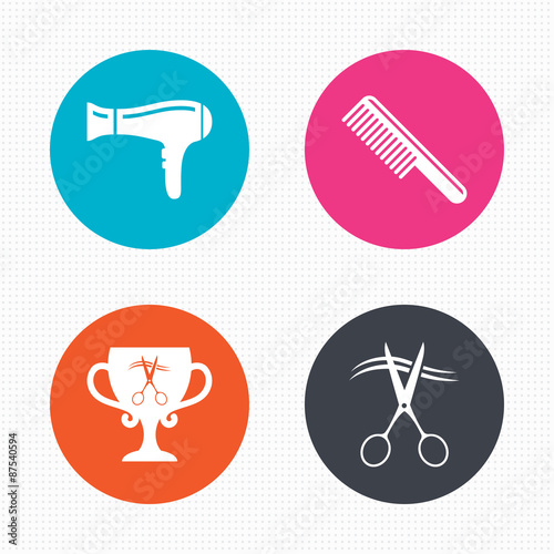 Hairdresser icons. Scissors cut hair symbol.