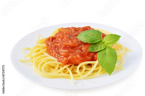 Fotografie, Obraz  Tomato sauce with spaghetti on white