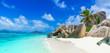 Leinwandbild Motiv Tropical Paradise - Anse Source d'Argent - Beach on island La Digue in Seychelles