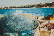 Fishing Net In Cyprus, Blue Net With Red Floats