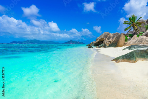 Foto op Canvas Tropical strand Tropical Paradise - Anse Source d'Argent - Beach on island La Digue in Seychelles