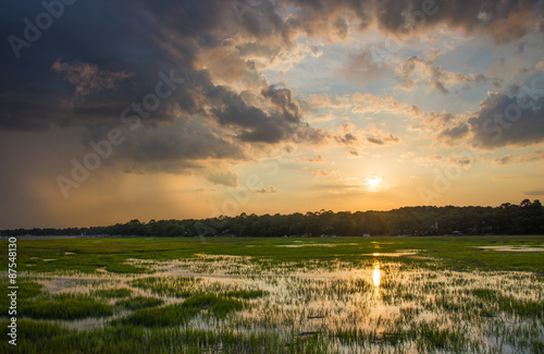 Carta da parati Sunset over a marsh