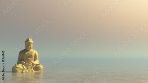 Tuinposter Boeddha Golden Buddha - 3D render