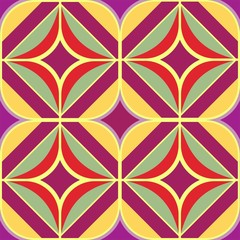 Panel Szklany Podświetlane Ornamenty colorful ornament pattern 70 flower power purple yellow tile seamlessly