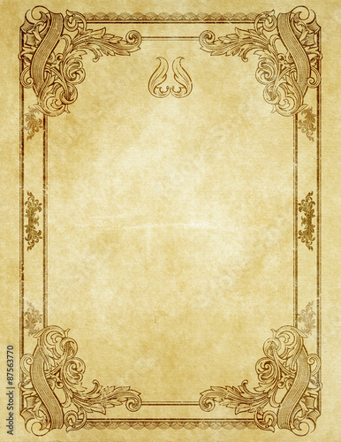 Grunge paper with antique frame. Wallpaper Mural