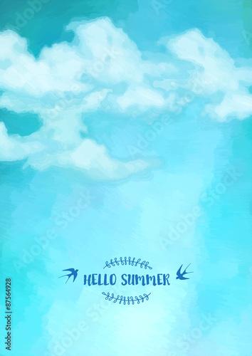 Spoed Foto op Canvas Turkoois Sky clouds vector background