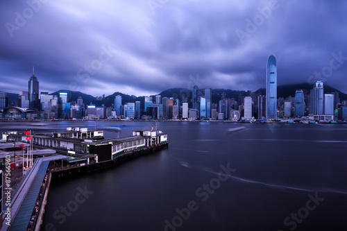 Fotografering  skyline and  buildings in harbor of hong kong