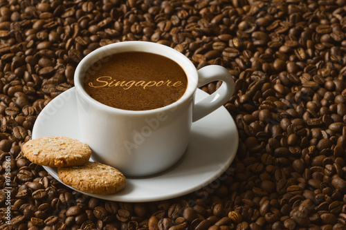 Photo  Still life - coffee with text Singapore