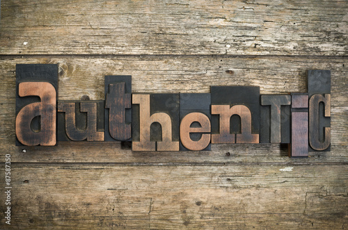 authentic, word written with vintage letterpress printing block