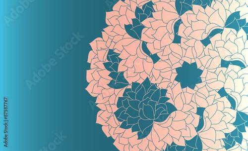 Fototapeta Delicate, white silhouette delicate floral pattern on a pale blue background. obraz na płótnie