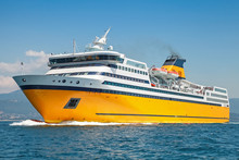 Big Yellow Passenger Ferry Goes On The Sea