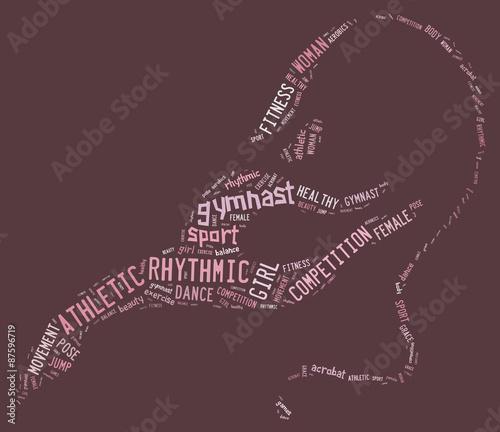 Tuinposter Gymnastiek rhythmic gymnastic pictogram with related wordings on pink backg