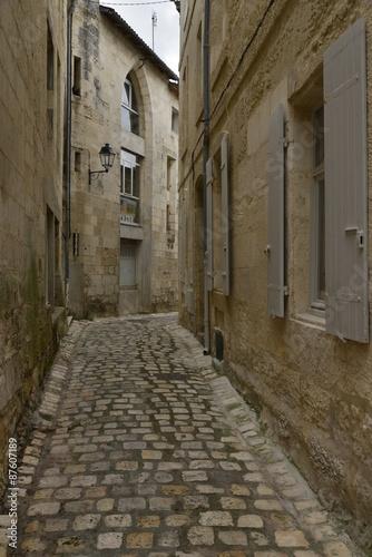 Fotobehang Smal steegje Ruelle à gros pavés typique à caractère médiévale au centre historique de Saintes