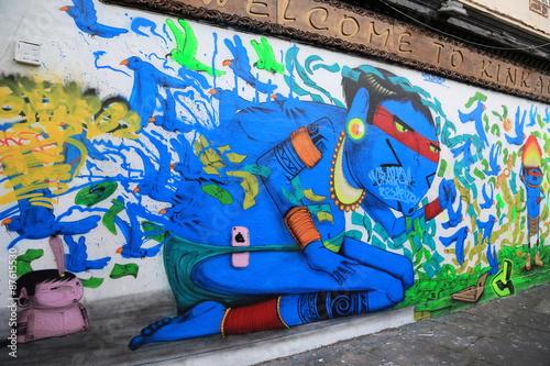 Plakat LONDYN, WIELKA BRYTANIA - MAJ: Sztuka uliczna w dniu 30 maja 2015 r. W centrum Londynu, to nowy trend w sztuce i rosnąca popularność poprzez wycieczki artystyczne.