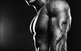 Bodybuilder showing his back and biceps muscles, personal fitnes
