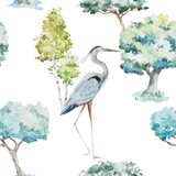 Watercolor herons and trees patterns - 87630933