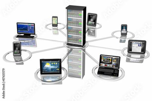 Fotomural Connessione_Smartphone Tablet Pc_001 Rappresentazione simbolica di sistemi informatici, Pc, computer, tablet, smartphone collegati fra loro e ad un server centrale