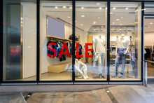Sale Word On Shopfront Display...