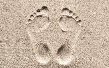 Fototapeta Print. Footprint in the Sand.
