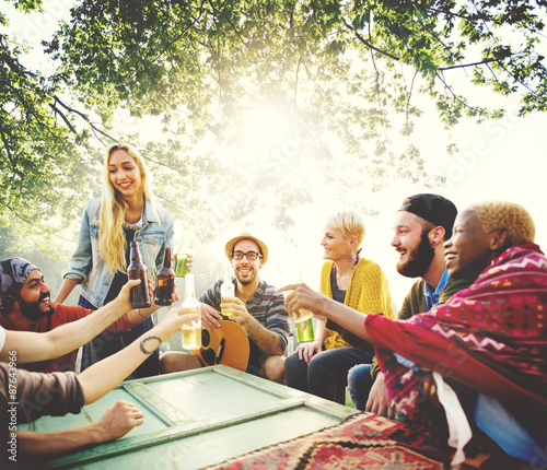 Spoed Fotobehang Kamperen Diverse People Friends Hanging Out Concept