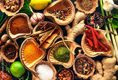 Fototapeta Various herbs and spices obraz