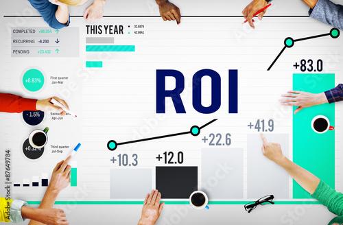 Fotografía  Roi Return On Investment Analysis Finance Concept