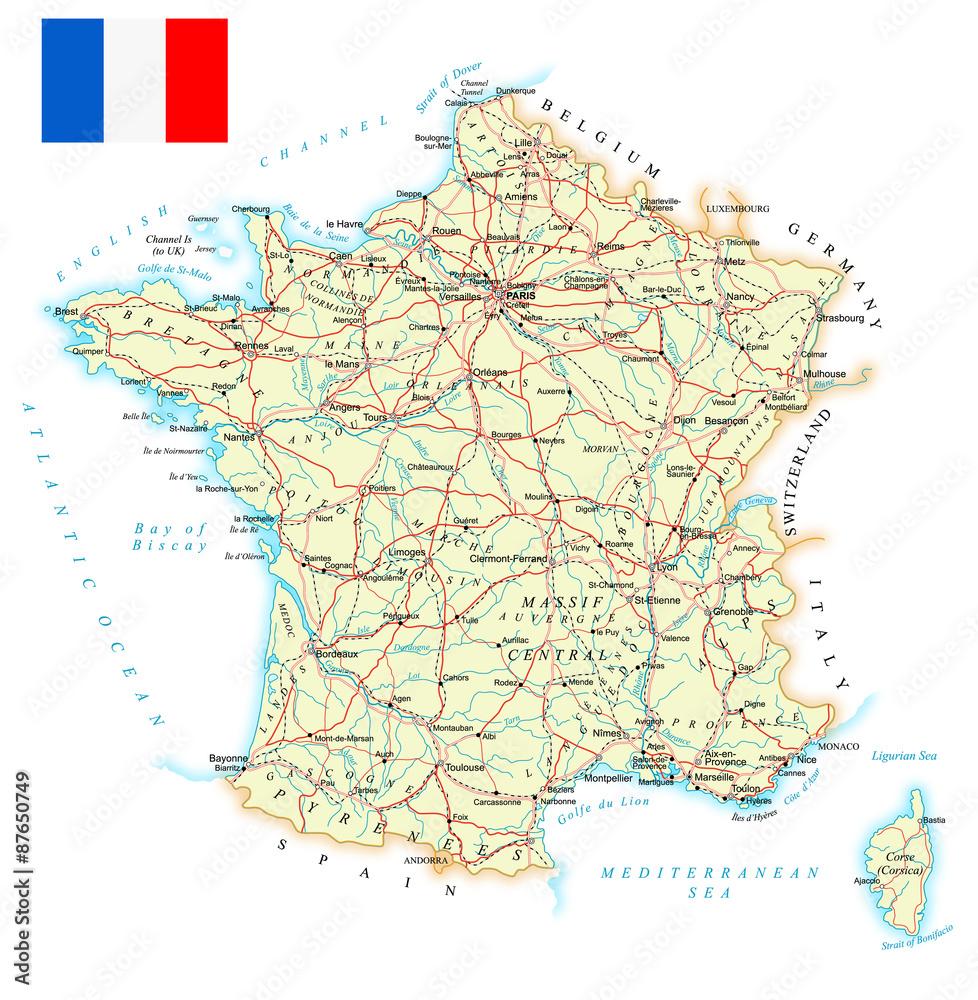 Photo  France - detailed map - illustration