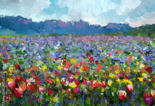 Oil painting Colorful spring summer rural landscape. Abstract Tulips flowers blossom in the meadow with hill and blue sky color background.