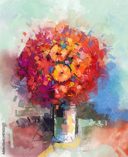 streszczenie-martwa-natura-bukiet-kwiatow-obraz-olejny-czerwony-gerbera-kwitnie