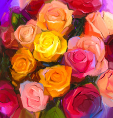 Fototapeta Róże Still life of yellow and red color flowers .Oil painting a bouquet of rose flowers . Hand Painted floral Impressionist style.