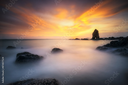 Canvas Prints Cuban Red Sea wave hit the rock at sunset in Thailand