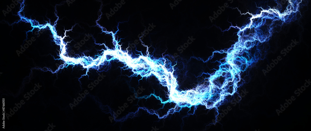 Photo Art Print Abstract Of Hot Blue Lightning Electrical