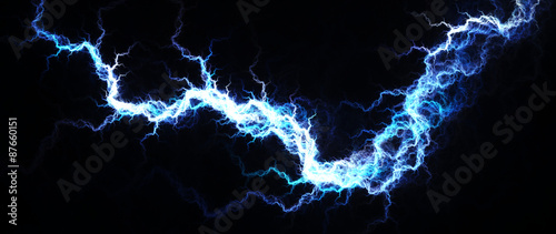 Abstract of hot blue lightning, electrical background Slika na platnu