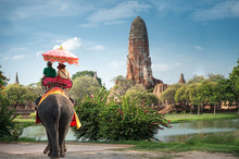 Tourists On An Elephant Ride T...