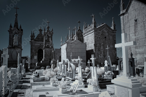 Foto op Canvas Begraafplaats Infrared old european cemetery