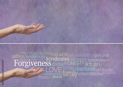 Photo Forgiveness Word Cloud Banner - Female hand outstretched with palm up and the wo