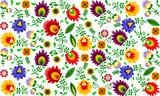 Fototapeta Kwiaty - Polski folklor - kolorowy wzór