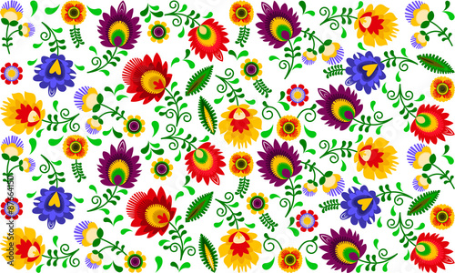 obraz PCV Polski folklor - kolorowy wzór
