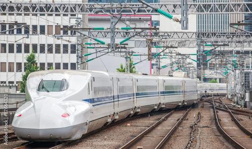 The Shinkansen bullet train network of high-speed railway lines in Japan