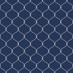 Fototapeta Marynistyczny Nautical rope seamless fishnet pattern on dark blue background