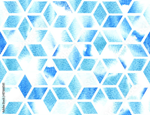 Watercolor geometric pattern. Seamless vector background Canvas Print