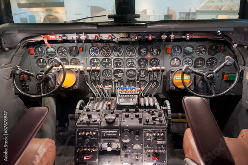 Fotografie, Obraz  Airplane interior, cockpit view inside the airplane