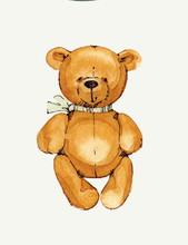 Watercolor Illustration Of Teddy Bear