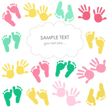Colorful Baby Footprint And Hands Kids Greeting Card