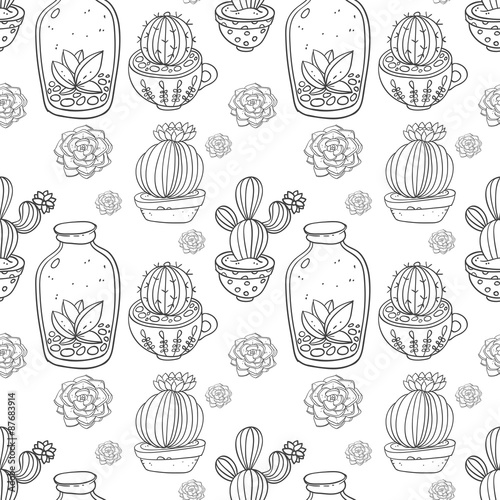Cotton fabric Succulents and cactus vector handpainted seamless pattern