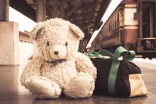 Vintage Tone, Teddy Bear Sitting Alone At Railway Platform
