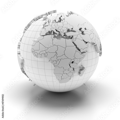 Fotografie, Tablou  Globe with extruded continents, Europe, Middle East and Africa