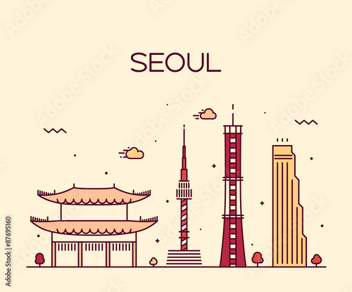 Photo  Seoul City skyline Trendy vector line art style