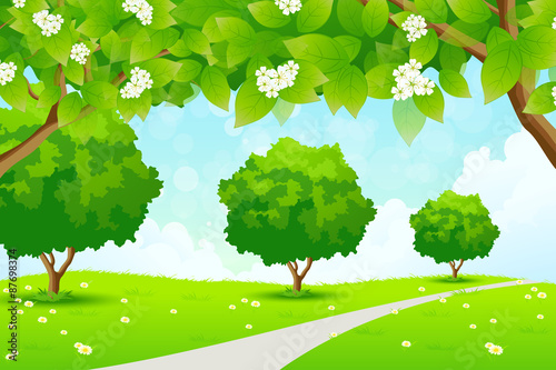 Tuinposter Lichtblauw Green Landscape with Trees
